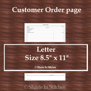 Letter Size – Customer Order Page