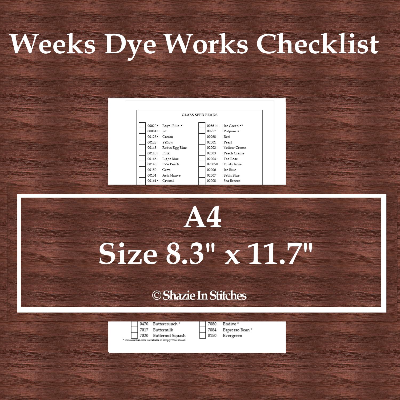 A4 Size - Weeks Dye Works Checklist