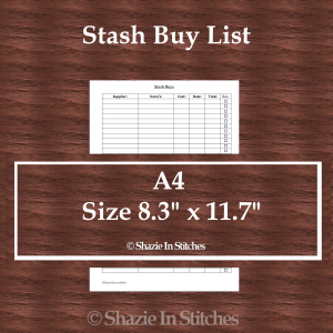 A4 Size – Stash Buys List Page