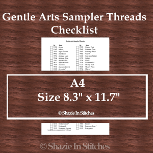 A4 Size – Gentle Arts Sampler Threads Checklist
