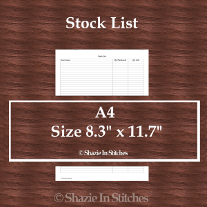 A4 Size – Stock List Page