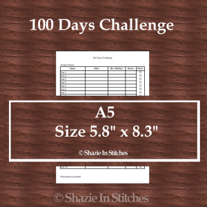 A5 Size – 100 Days Challenge Page