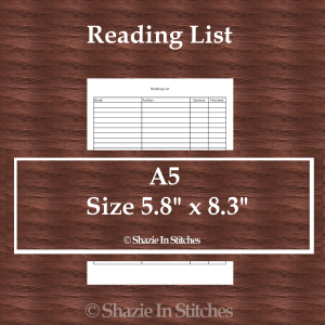 A5 Size – Reading List Page