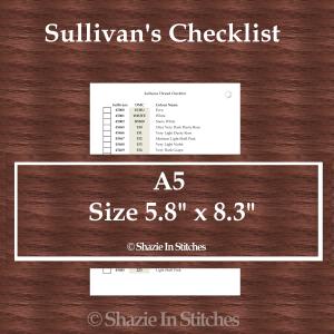 A5 Size – Sullivans Checklist Pages