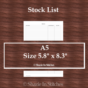 A5 Size – Stock List Page