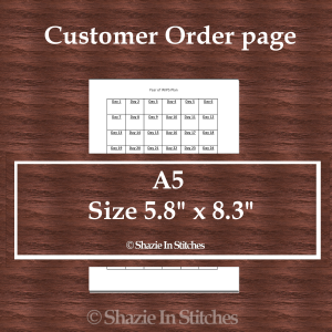 A5 Size – Customer Order Page