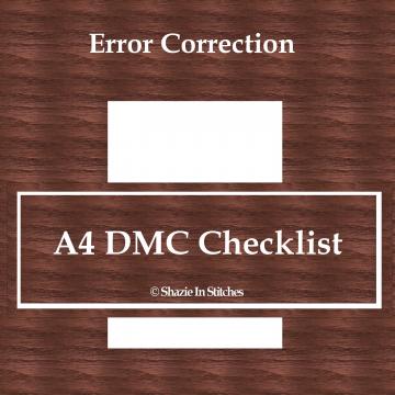 Cross Stitch Journal – Correction on the A4 DMC Checklist