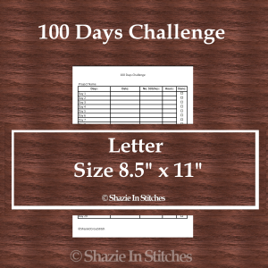 Letter Size – 100 Days Challenge Page