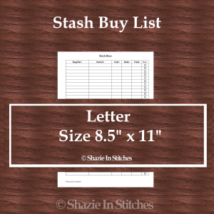 Letter Size – Stash Buys List