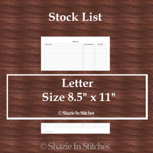 Letter Size – Stock List Page